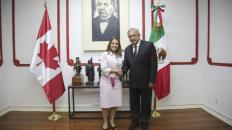 Reunión entre el presidente electo, Andrés Manuel López y la cancilller canadiense, Chrystia Freeland, el 25 de julio de 2018.